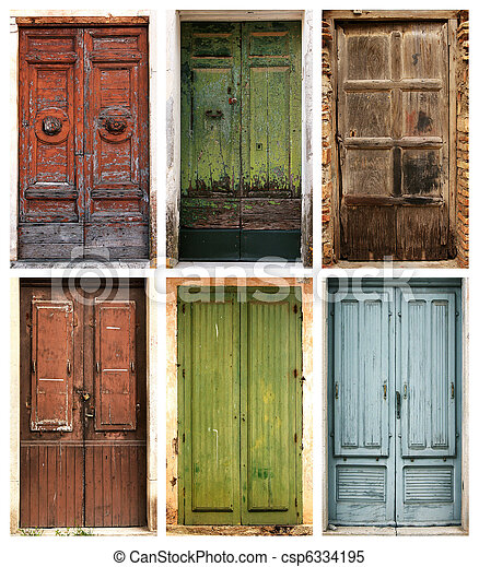 vacker, Forntida,  collage, foto, dörrar,  6 - csp6334195