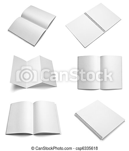 leaflet notebook textbook white blank paper template - csp6335618