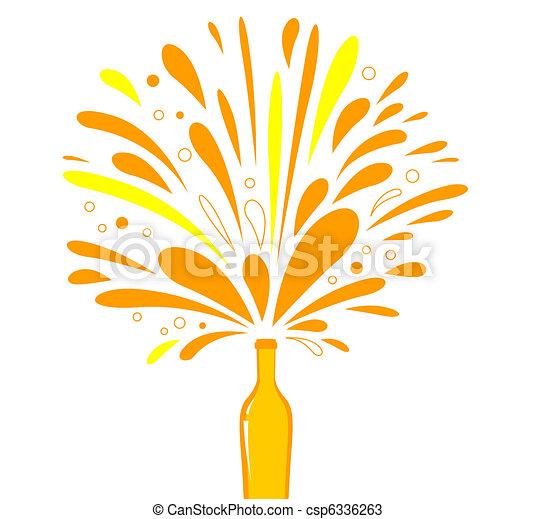 Fresh summer alcohol drink, retro wine, champagne ( orange )  - csp6336263