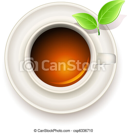 cup of tea with green tea leaves - csp6336710