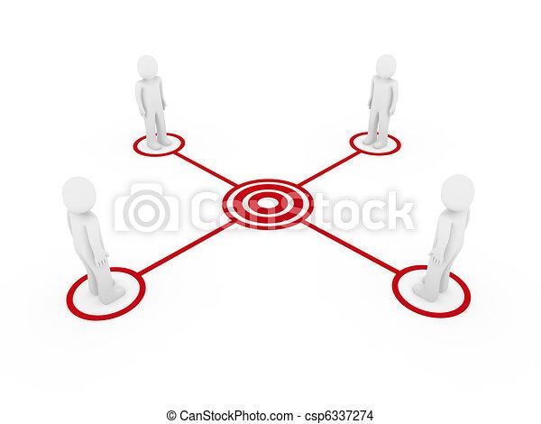 3d men connection red  - csp6337274