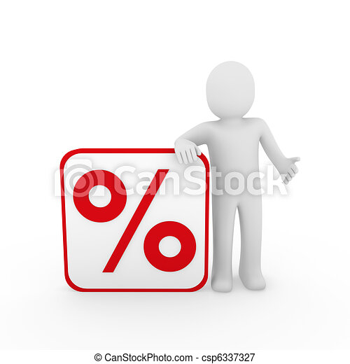 3d man sale percentage red - csp6337327