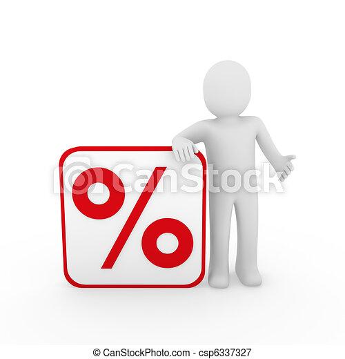 3d man sale percentage red - csp6337327