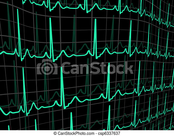 Heartbeat on a black monitor. EPS 8 - csp6337637