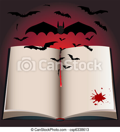 dark book and bats - csp6338613