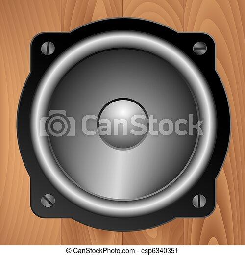 Audio speaker on wooden background - csp6340351