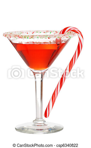Holiday martini with a candy cane - csp6340822