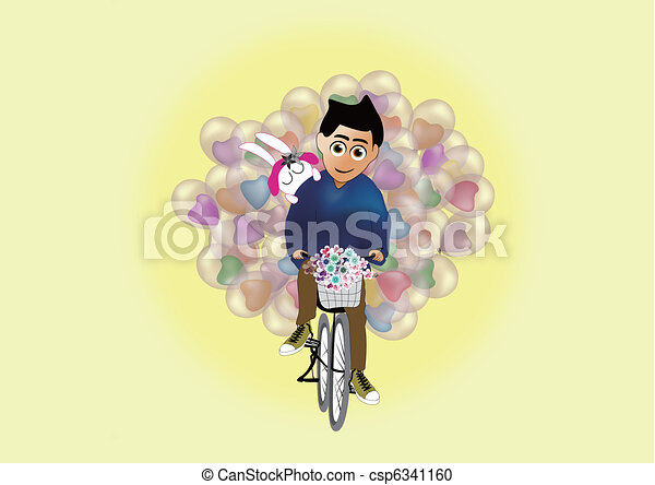 Man carries balloon for his lover - csp6341160