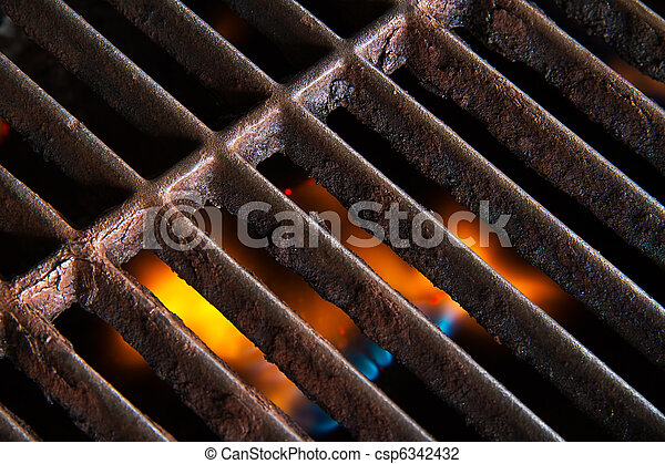 Grill Grate with Flames Beneath - csp6342432