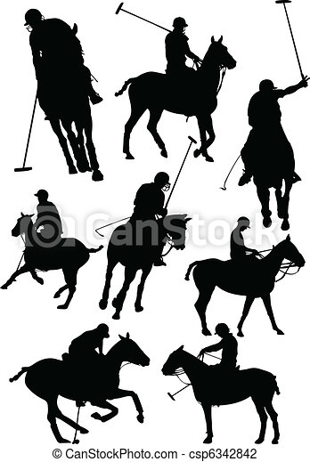 Black and white polo players vecto - csp6342842