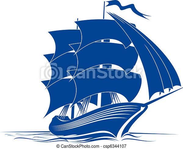 水帆船简笔画图片大全