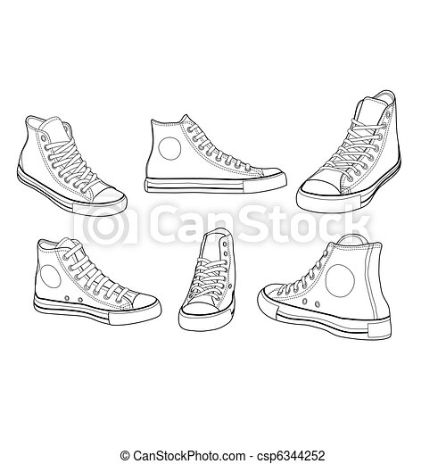 Sneakers at various angles outline - csp6344252