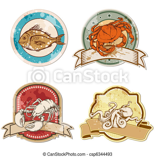 vintage labels with seafood - csp6344493
