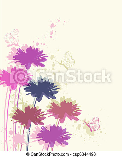 floral background with chamomile and butterflies - csp6344498