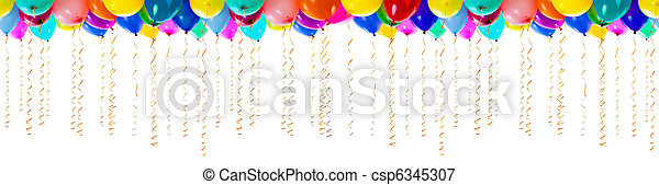 seamless colourful balloons with streamers for party or bithday isolated - csp6345307