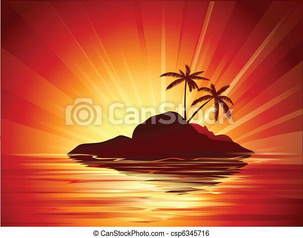tropical sunset - csp6345716