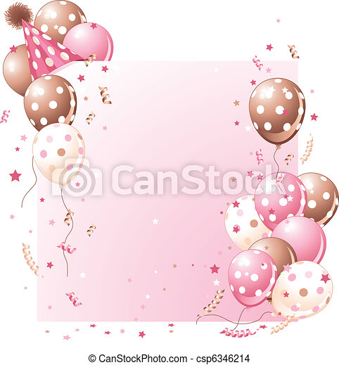 粉紅色, 生日, 卡片 - csp6346214