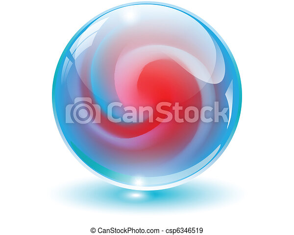 3D crystal, glass sphere vector. - csp6346519