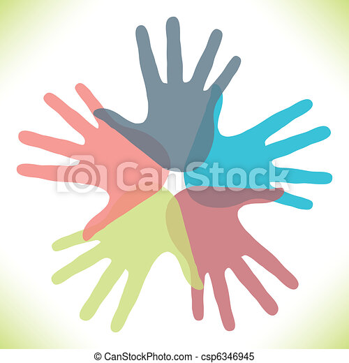 Circle of overlapping hands. - csp6346945