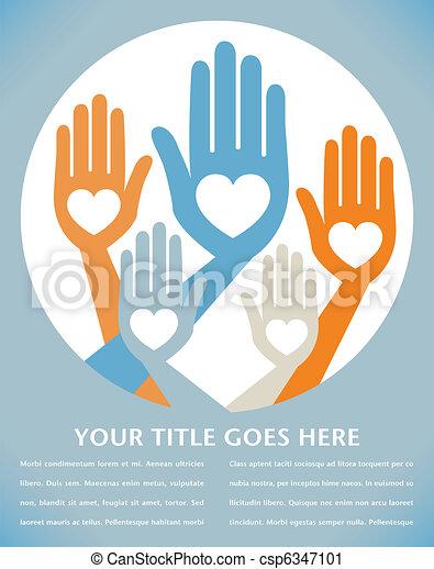 Helpful united hands design.  - csp6347101
