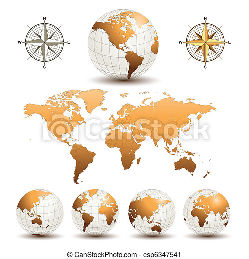 Earth globes with world map - csp6347541