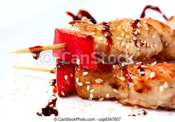 pollo,  kebabs, japonés - csp6347607