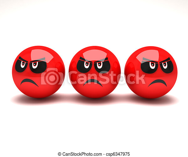 three unhappy smiley - csp6347975