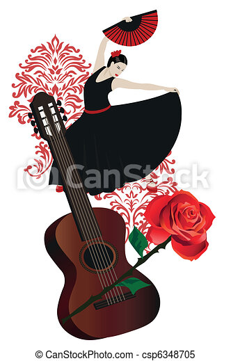 Flamenco guitar Clipart Vector and Illustration. 309 Flamenco ...