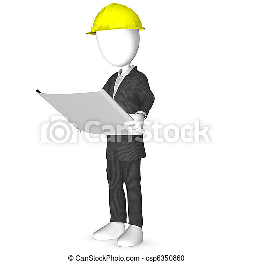 3D Architect or engineer looking at blueprints - csp6350860