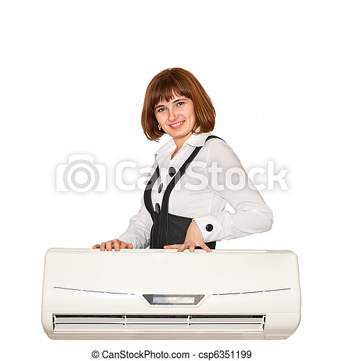 girl with air conditioning - csp6351199