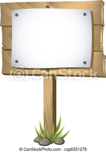 Wooden signboard with a blank paper - csp6351278