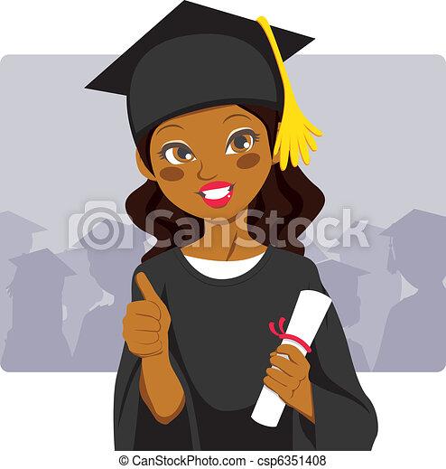 américain, africaine, diplômé - csp6351408