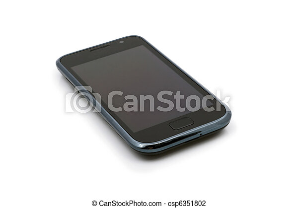 Touch-screen phone device, isolated on a white background. - csp6351802