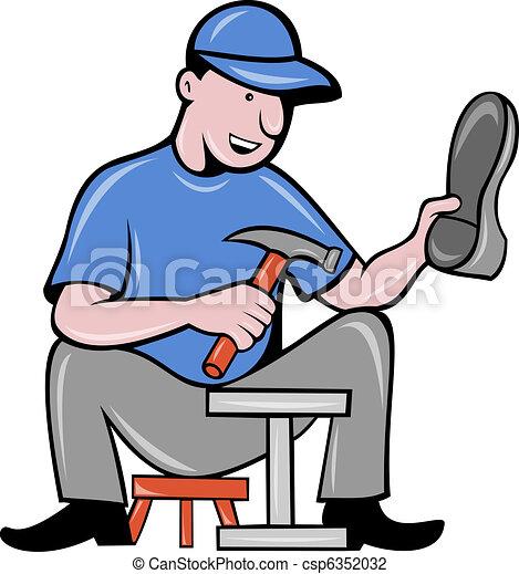 shoemaker cobbler shoe repair working - csp6352032