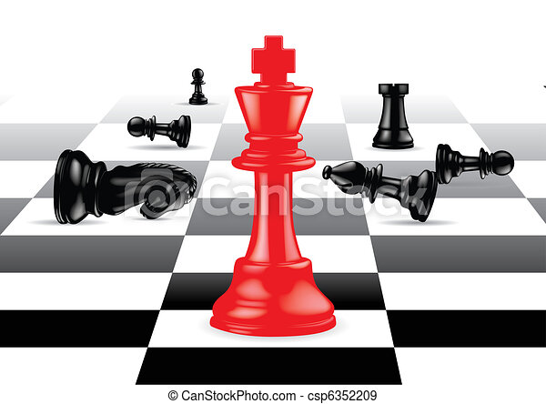 Red King stand out against black chess pieces - csp6352209