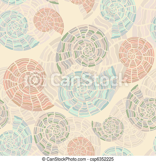 vector seamless background with sea shells - csp6352225