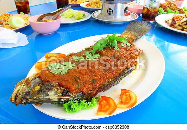 Crisp fried white bass with chili sauce - csp6352308