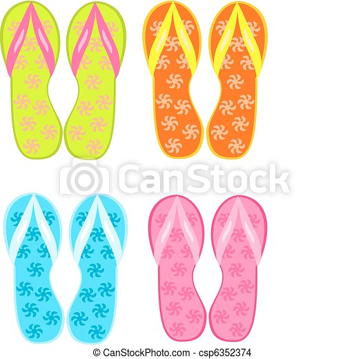 Beach Sandals Drawing Flip Flops Csp6352374