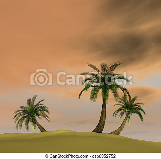 3d render of island with palm-trees and orange pink dusk sky - csp6352752