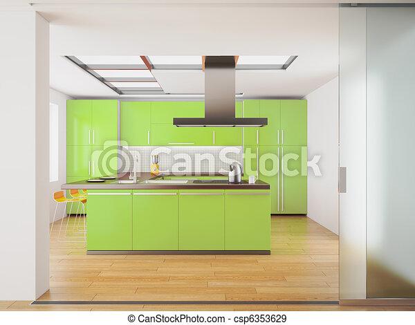 Stock illustratie van moderne groene keuken 3d render for Keuken plannen in 3d