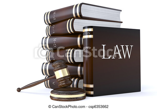 collection of law books and gavel - csp6353662