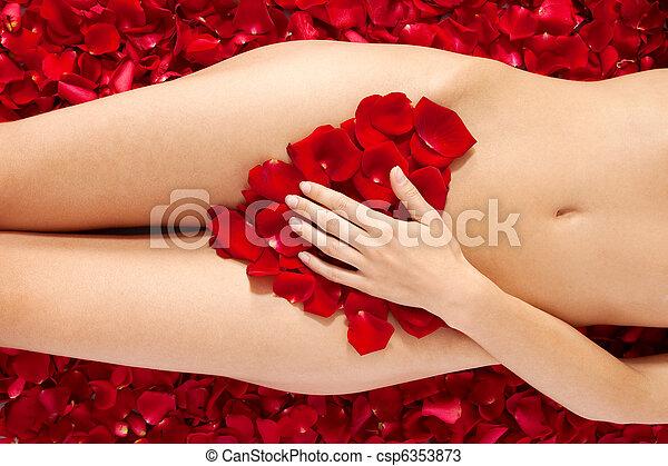 Beautiful body of woman against petals of red roses - csp6353873