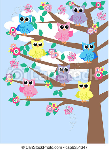 colourful owls in a tree - csp6354347
