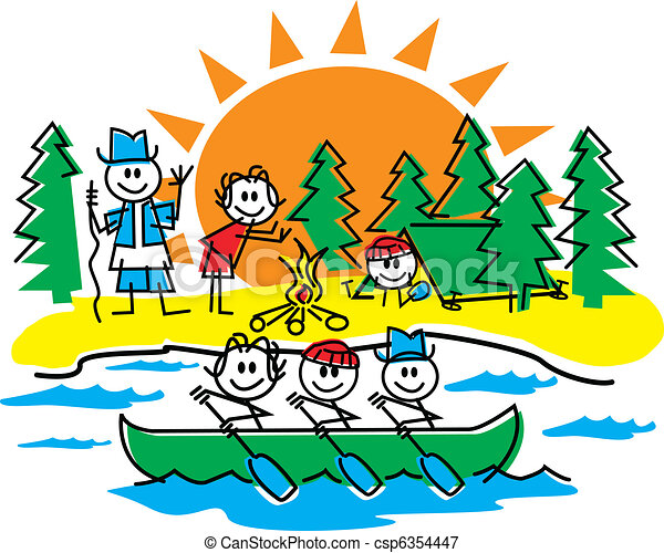 Stick Figure Family Camping - csp6354447