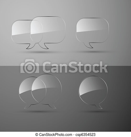 Set of realistic glass speech bubbles. Vector illustration. - csp6354523