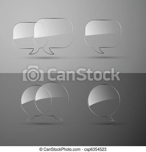 Set of realistic glass speech bubbles. Vector illustration. - csp6354523