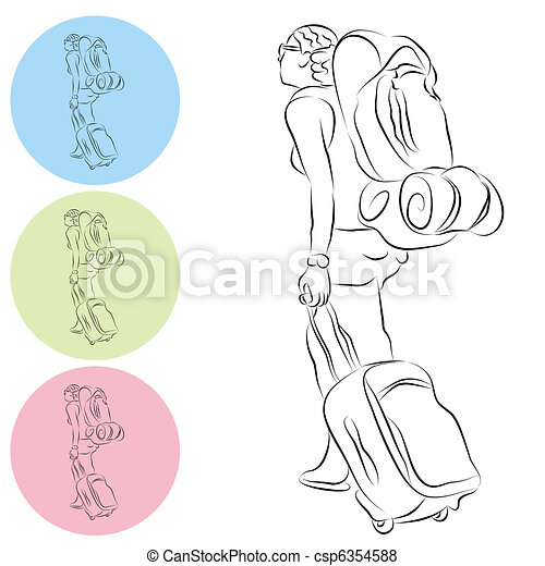 Luggage Backpack Travel Girl Line Drawing - csp6354588