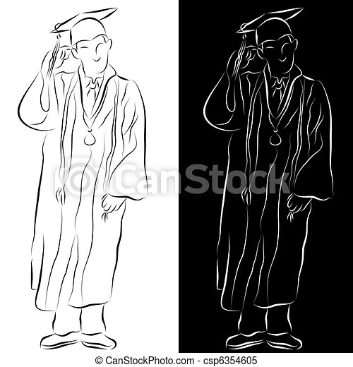 Graduation Gown Line Drawing - csp6354605