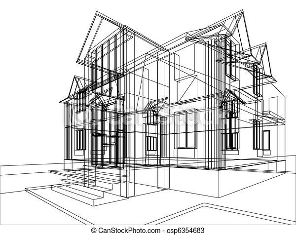 Dessins de maison croquis construction r sum croquis for Croquis architecturaux de maisons