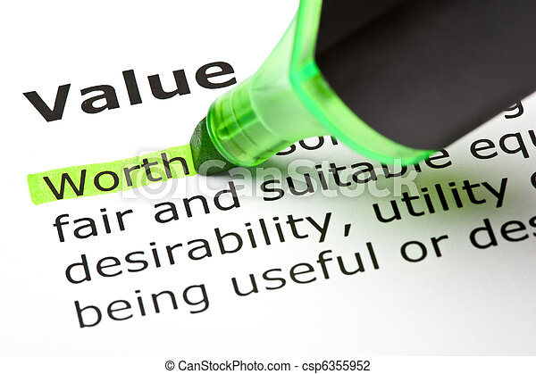 'Worth' highlighted, under 'Value' - csp6355952
